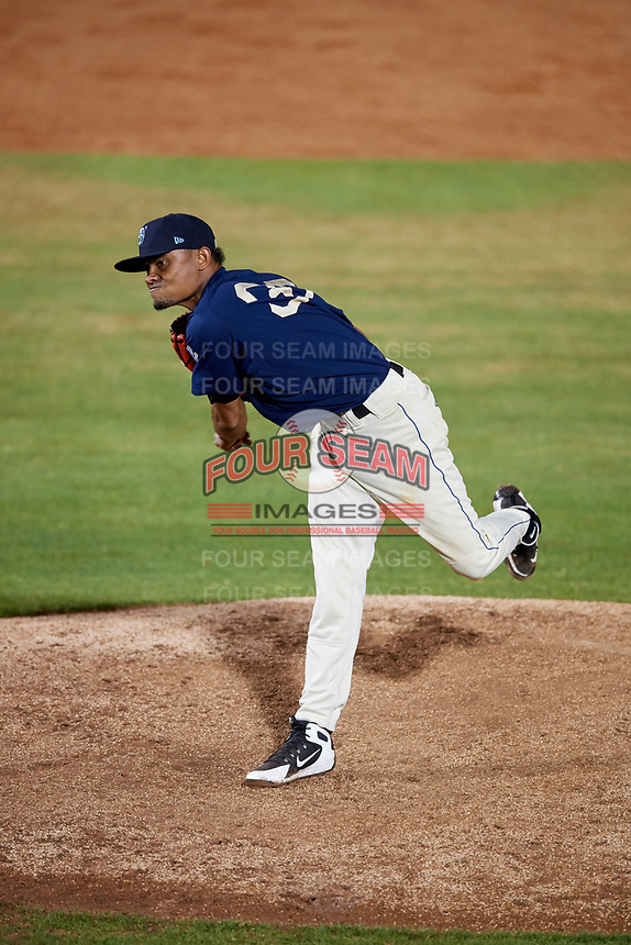 Mobile BayBears relief pitcher Adrian Almeida (37) delivers a pitch during a game against the Chattanooga Lookouts on May 5, 2018 at Hank Aaron Stadium in Mobile, Alabama.  Chattanooga defeated Mobile 11-5.  (Mike Janes/Four Seam Images)