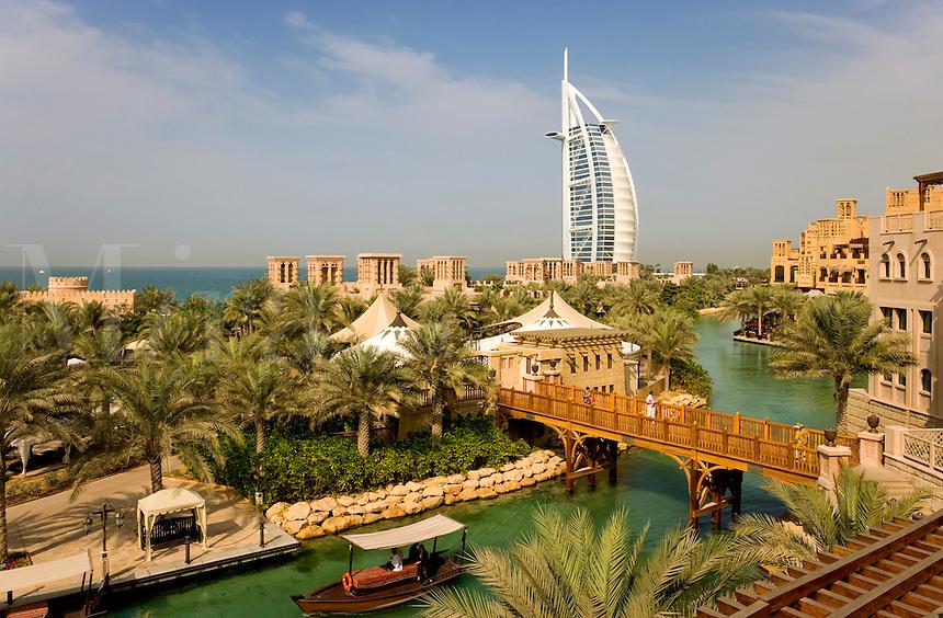 Dubai.  Burj al Arab Hotel, Al Qasr Hotel and Mina A'Salam Hotel. Madinat Jumeirah. Souk.  .