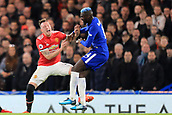5th November 2017, Stamford Bridge, London, England; EPL Premier League football, Chelsea versus Manchester United; Tiemoue Bakayoko of Chelsea fouls Phil Jones of Manchester Utd for which he received a yellow card