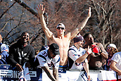 5th February 2019, Boston, Massachusetts, USA;  New England Patriots running back Sony Michel (26), New England Patriots running back Jeremy Hill (33) , New England Patriots tight end Rob Gronkowski (87) and New England Patriots running back Rex Burkhead (34) during the New England Patriots Super Bowl Victory Parade on February 5th 2019, through the streets of Boston, Massachusetts.