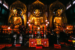 Golden Buddhas at Six Banyon Tree Temple in city of Guangzhou, China, Asia