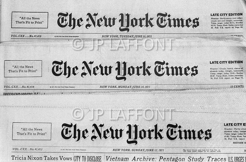 The Pentagone Papers published in the 3 New York Times June 13th, 14th and 15th 1971