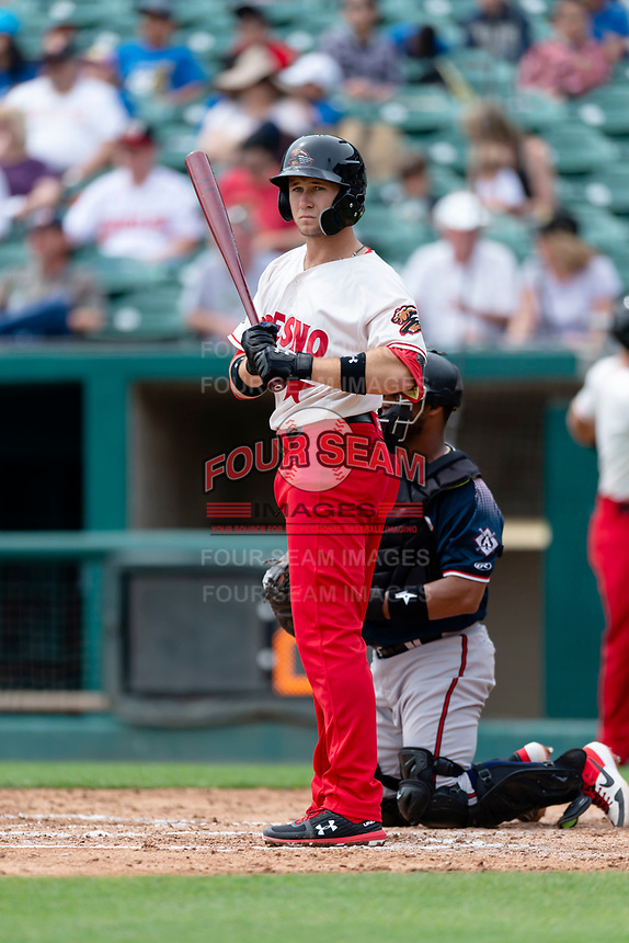 Fresno Grizzlies shortstop Carter Kieboom (8) at bat during a game against the Reno Aces at Chukchansi Park on April 8, 2019 in Fresno, California. Fresno defeated Reno 7-6. (Zachary Lucy/Four Seam Images)