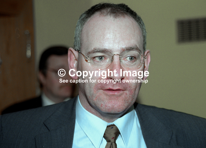 Mark Durkan, MLA, Minister for Finance &amp; Personnel,, N Ireland Executive, 199911048.<br /> <br /> Copyright Image from Victor Patterson,<br /> 54 Dorchester Park, <br /> Belfast, UK, BT9 <br /> <br /> t1: +44 28 9066 1296 (from Rep of Ireland 048 90661296)<br /> t2: +44 28 9002 2446 (from Rep of Ireland 048 9002 2446)<br /> <br /> m: +44 7802 353836<br /> <br /> e: victorpatterson@me.com<br /> www.victorpatterson.com<br /> <br /> Please see my Terms and Conditions of Use at www.victorpatterson.com. It is IMPORTANT that you familiarise yourself with them.<br /> <br /> Images used on the Internet must be visibly watermarked i.e. &copy; Victor Patterson<br /> within the body of the image and copyright metadata must not be deleted. Images <br /> used on the Internet have a size restriction of 4kbs and will be chargeable at current<br />  NUJ rates unless agreed otherwise.<br /> <br /> This image is only available for the use of the download recipient i.e. television station, newspaper, magazine, book publisher, etc, and must not be passed on to any third <br /> party. It is also downloaded on condition that each and every usage is notified within 7 days to victorpatterson@me.com<br /> <br /> The right of Victor Patterson to be identified as the author is asserted in accordance with The Copyright Designs And Patents Act (1988). All moral rights are asserted.