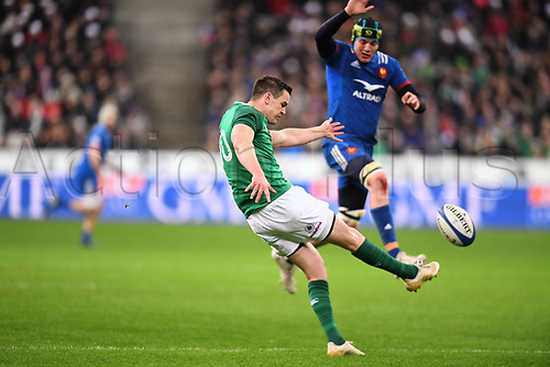 February 3rd 2018, Stade de France, Paris, France; 6 National international rugby tournament, France versus Ireland;  Jonathan Sexton (irl) kicks for field position