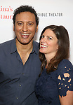 """Aasif Mandvi and director Kimberly Senior attend the Photo Call for  """"Sakina's Restaurant"""" on September 20, 2018 at Feinstein's/54 Below in New York City."""