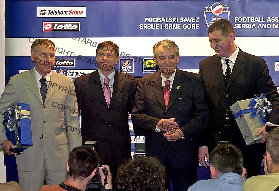 FSSCG DODELA PRIZNANJA DZAJIC MILJANIC na slici: Dragan Dzajic, Dragan Stojkovic Piksi Miljan Miljanic 29.3.2005. foto: Pedja Milosavljevic<br />