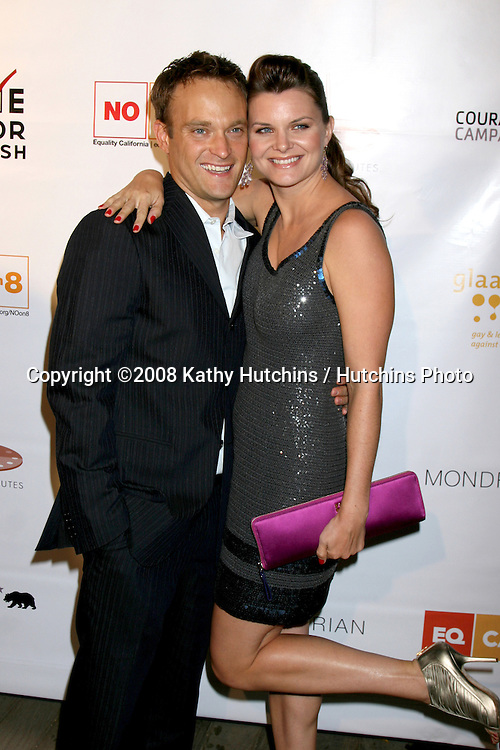 Chad Allen & Heather Tom arriving at the HEROES & HISTORY MAKERS GALA to benefit the fight against Prop. 8, hosted by Love Honor Cherish and Equality California and GLAAD at the Mondrian Hotel Skybar  in West Hollywood, CA.October 12, 2008.©2008 Kathy Hutchins / Hutchins Photo...                .