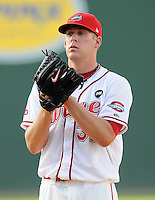 July 25, 2009: LHP Nick Hagadone (32) of the of the Greenville Drive, No. 3 prospect of the Boston Red Sox, in a game at Fluor Field at the West End in Greenville, S.C. Hagadone, recovering from Tommy John surgery in 2008, pitched three scoreless innings before reaching his pitch count. Photo by: Tom Priddy/Four Seam Images