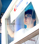 WATERBURY CT. 17 May 2019-051719SV05-Derek Strillacci, 18 of Southington installs a window with Tonnotti Windows at a home in Waterbury Friday. The students from Wilcox Tech. are part of an apprenticeship program.<br /> Steven Valenti Republican-American