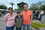 "Elizabeth Bermudez (left) and her son Kevin and husband Emilio Gonzalez pose in the Plaza Benito Juarez in Nuevo Laredo, Mexico, on March 3, 2017. They are among hundreds of Cubans stuck in the border city, caught in limbo by the elimination in January of the infamous ""wet foot, dry foot"" policy of the United States. They are not allowed to enter the U.S. yet most don't want to return to Cuba. Many of the city's churches have become temporary shelters for the immigrants, and congregations rotate responsibility for feeding the Cubans, who have slowly been forced to appreciate Mexican cuisine. Such solidarity from ordinary Mexicans will be tested in coming months, as not only are the Cubans stuck at the border, but the U.S. has stepped up deportations of Mexican nationals, while at the same time detaining many undocumented workers from other nations and simply dumping them on the US-Mexico border."