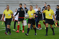 20160412 - LEUVEN ,  BELGIUM : Turkish referees pictured with Belgin Kumru Yilmaz , Deybet Gok (left) and Melis Ozcigdem (middle) during the female soccer game between the Belgian Red Flames and Estonia , the fifth game in the qualification for the European Championship in The Netherlands 2017  , Tuesday 12 th April 2016 at Stadion Den Dreef  in Leuven , Belgium. PHOTO SPORTPIX.BE / DAVID CATRY