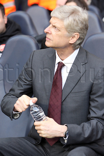 03.03.2013. London, England.Arsene Wenger Manager of Arsenal before kick off  Premier League game between Tottenham Hotspur and Arsenal from White Hart Lane
