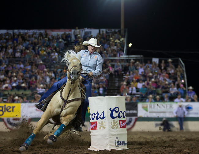 Whitney Davison competes in the Barrel Racing event during the Reno Rodeo on Sunday, June 23, 2019.