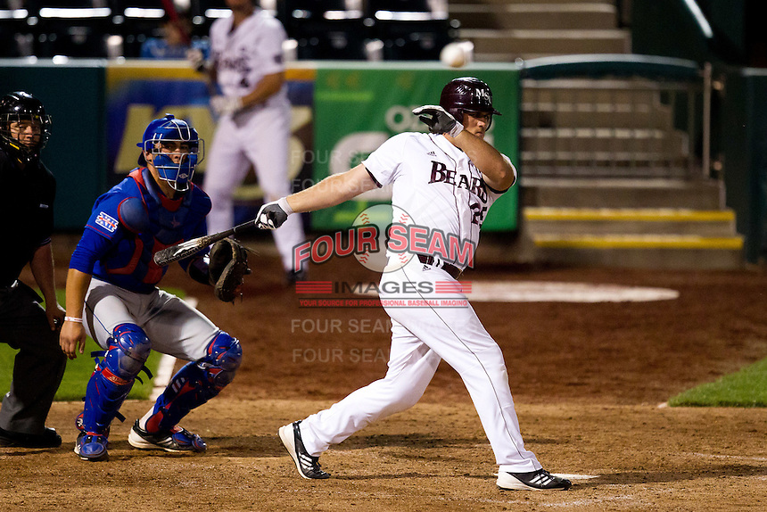 Brock Chaffin (25) of the Missouri State Bears fouls a pitch down the first base line during a game against the Kansas Jayhawks at Hammons Field on March 27, 2012 in Springfield, Missouri. (David Welker/Four Seam Images)