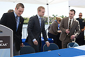 Austin Smith (Colgate), Spencer Abbott (Maine), Jack Connolly (UMD) - The members of the Hobey Hat Trick joined the Boston College Eagles and Ferris State Bulldogs at an autograph signing at Channelside Bay Plaza on Friday, April 6, 2012, in Tampa, Florida.