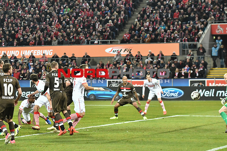 08.02.2019, Rheinenergiestadion, K&ouml;ln, GER, DFL, 2. BL, VfL 1. FC Koeln vs FC St. Pauli, DFL regulations prohibit any use of photographs as image sequences and/or quasi-video<br /> <br /> im Bild Jhon Cordoba (#15, 1.FC K&ouml;ln / Koeln)  macht das Tor zum 3:1<br /> <br /> Foto &copy; nph/Mauelshagen
