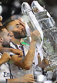 June 3rd 2017, National Stadium of Wales , Wales; UEFA Champions League Final, Juventus FC versus Real Madrid;  Karim Benzema of Real Madrid kisses the cup as his team won the final by a score of 4-1