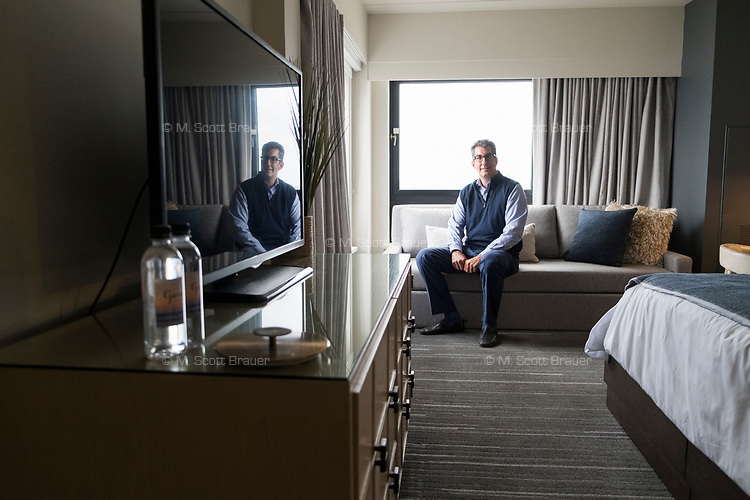 Owner George Filopoulos is seen in a newly renovated guest room at Gurney's Newport Resort and Marina, which was formerly a Hyatt Regency hotel, on Goat Island in Newport, Rhode Island, on Wed., April 19, 2017. The entire hotel will be renewed with an approximately $18 million renovation to be completed by Memorial Day 2017.