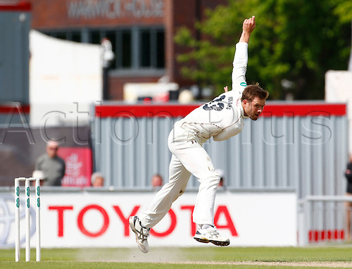 23.05.2016. Old Trafford, Manchester, England. Supersavers County Championship. Lancashire versus Surrey. Surrey bowler Mathew Pillans bowls during the afternoon session.