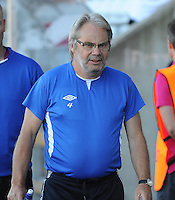 20140718 - Tonsberg , NORWAY : Norwegian coach Jarl Torske pictured during the female soccer match between Women under 19 teams of Norway and Belgium , on the second matchday in group A of the UEFA Women Under19 European Championship at Tonsberg Stadion , Norway . Friday 18th July 2014 . PHOTO DAVID CATRY