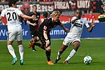 14.04.2018, BayArena, Leverkusen , GER, 1.FBL., Bayer 04 Leverkusen vs. Eintracht Frankfurt<br /> im Bild / picture shows: <br /> Makoto Hasebe (Frankfurt #20),  <br /> Julian Brandt (Leverkusen #10), <br /> Gelson Fernandes (Frankfurt #5),  <br /> <br /> <br /> Foto &copy; nordphoto / Meuter