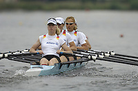 Poznan, POLAND.  2006, FISA, Rowing, World Cup,  GER  W4X,  bow Christiane  HUTH,  Susanne  SCHMIDT, Magdalena  SCHMUDE, Stephanie  SCHILLER, move  away from  the  start, on the Malta  Lake. Regatta Course, Poznan, Thurs. 15.05.2006. © Peter Spurrier   ...[Mandatory Credit Peter Spurrier/ Intersport Images] Rowing Course:Malta Rowing Course, Poznan, POLAND