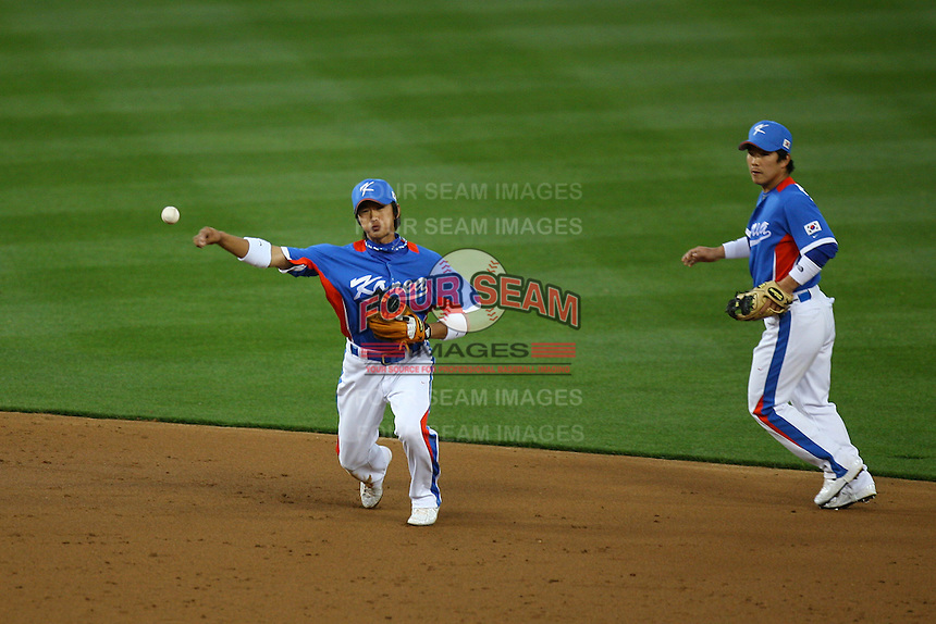 Ki Hyuk Park of Korea during a game against Venezuela at the World Baseball Classic at Dodger Stadium on March 21, 2009 in Los Angeles, California. (Larry Goren/Four Seam Images)