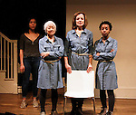 """Caitlin Cisco - Kitty Chen - Orlagh Cassidy - Mirirai Sithole star in play as The Cell presents Origin Theatre Company with the North American Premiere of """"The Hundred We Are""""  at the dress rehearsal on March 16, 2016 through April 8 at the Cell Theatre on 23rd St, New York City, New York. (Photo by Sue Coflin/Max Photos)"""