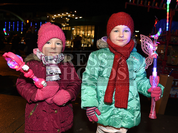 Aoife and Emma Daly at the Fireworks display sponsored by Funtasia at Scotch Hall Shopping Centre as part of the Drogheda Christmas BonanzaFestival. Photo:Colin Bell/pressphotos.ie