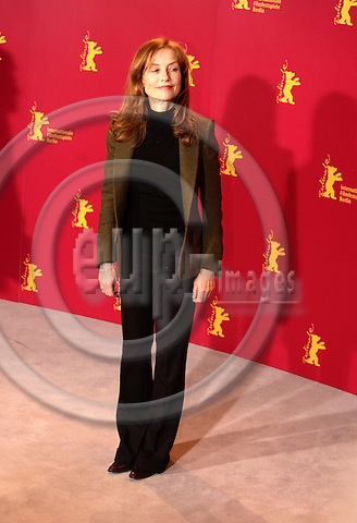 """BERLIN - GERMANY 16. FEBRUARY 2006 -- Berlin Filmfestival  -  Berlinale 2006   - Photocall in the Hotel Hyatt for Actress Isabelle Huppert who stars in COMEDY OF POWER  -- PHOTO: UFFE NOEJGAARD / EUP-IMAGES..This image is delivered according to terms set out in """"Terms - Prices & Terms"""". (Please see www.eup-images.com for more details)."""
