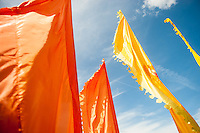 Tuesday 31 May 2016. Hay on Wye, UK<br /> Pictured: Colourful flags at the festival <br /> Re: The 2016 Hay festival take place at Hay on Wye, Powys, Wales