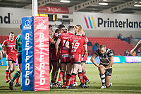 Picture by Allan McKenzie/SWpix.com - 16/03/2018 - Rugby League - Betfred Super League - Salford Red Devils v Hull FC - AJ Bell Stadium, Salford, England - Salford celebrate Ben Nakubuwai's try against Hull FC.