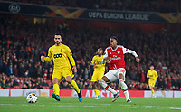 Joe Willock of Arsenal & Nicolas Gavory of Standard Liege during the UEFA Europa League match between Arsenal and Standard Liege at the Emirates Stadium, London, England on 3 October 2019. Photo by Andrew Aleks.