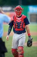 Lowell Spinners catcher Kole Cottam (39) during a game against the Batavia Muckdogs on July 15, 2018 at Dwyer Stadium in Batavia, New York.  Lowell defeated Batavia 6-2.  (Mike Janes/Four Seam Images)