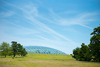Dome shaped glass roof of The Great Glasshouse of the National Botanic Garden of Wales in Carmarthenshire, UK