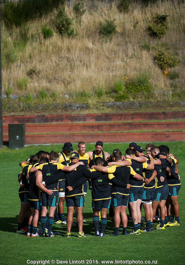 The team huddles at the end of Hurricanes rugby training at Rugby League Park, Wellington, New Zealand on Thursday, 10 March 2016. Photo: Dave Lintott / lintottphoto.co.nz