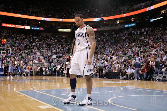 Trent Nelson  |  The Salt Lake Tribune.Salt Lake City - Utah Jazz vs. Denver Nuggets, NBA Playoff basketball, game 3 at EnergySolutions Arena Friday, April 23, 2010. Utah Jazz's Deron Williams (8)