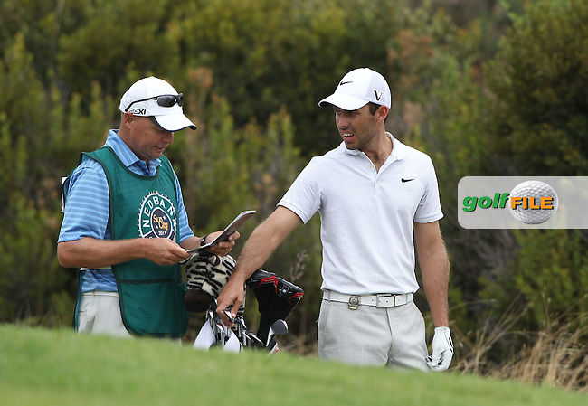 01-12-2011 Africa's Major 2011, NEDBANK Golf Challenge, The Gary Player Country Club, North West, Sun City, South Africa. 01-04 Dec. Charl  Schwartzel of South Africa  with caddie during the first round..Picture golffile.ie/Luke Walker/golffupport