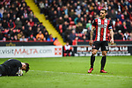 Billy Sharp of Sheffield Utd watches Declan Rudd of Preston North End following a save during the Championship league match at Bramall Lane Stadium, Sheffield. Picture date 28th April, 2018. Picture credit should read: Harry Marshall/Sportimage