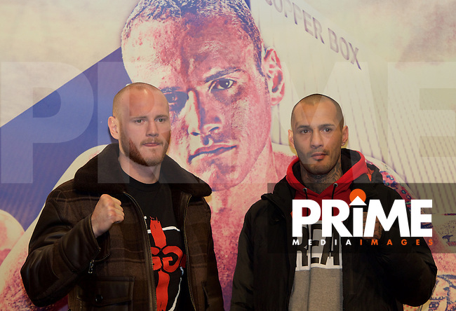 George Groves (left) and Andrea Di Luisa during the final press conference ahead of the George Groves v Andrea Di Luisa fight set for Saturday 30th January 2016 at the Copper Box, at Stratford Circus, Theatre Square, England on 28 January 2016. Photo by Alan  Stanford/PRiME Media Images.