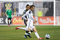 David Beckham (23) of the Los Angeles Galaxy plays the ball. The Los Angeles Galaxy defeated the Philadelphia Union  1-0 during a Major League Soccer (MLS) match at PPL Park in Chester, PA, on October 07, 2010.