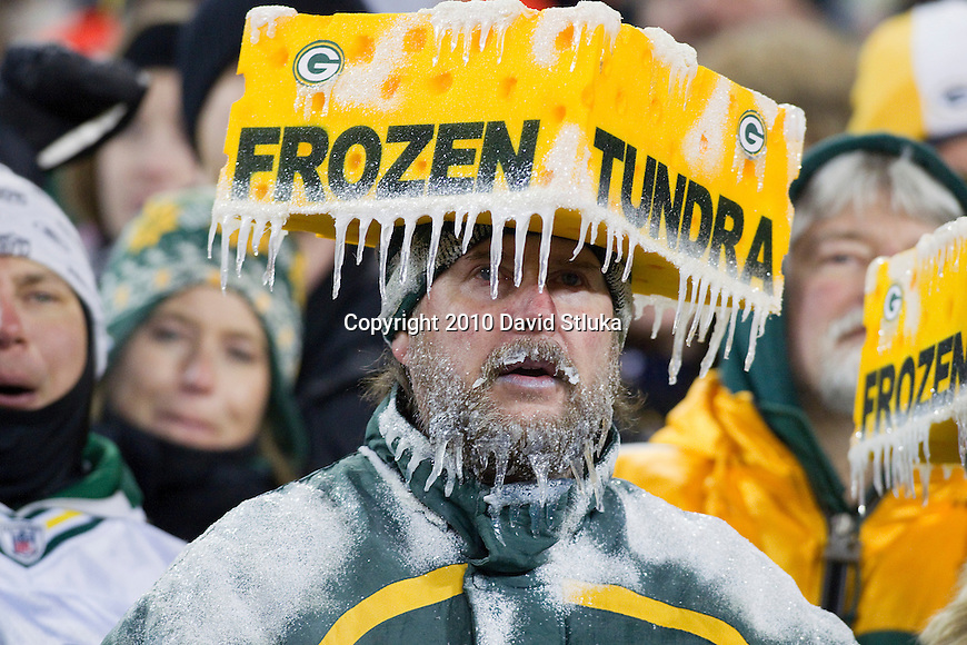 Green Bay Packers fan Jeff Kahlow wears a Frozen Tundra Cheesehead hat during a week 16 NFL football game at Lambeau Field in Green Bay, Wisconsin on December 26, 2010. The Packers won 45-17. (AP Photo/David Stluka)