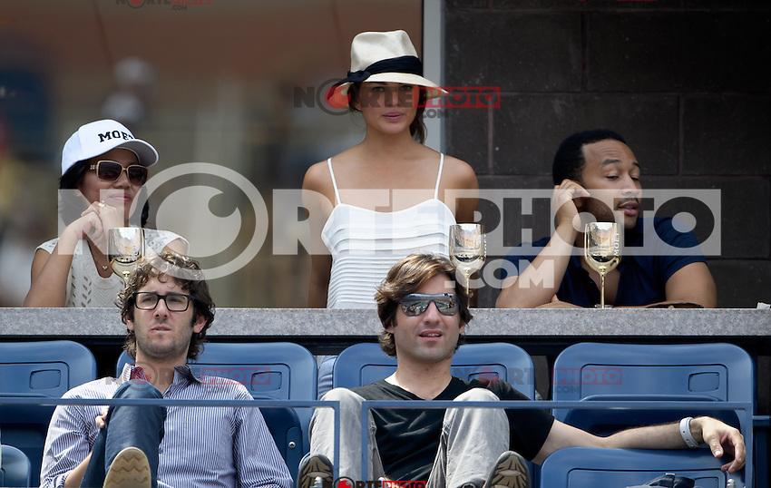September 2, 2012: Model Chrissy Teigen (top C), singer John Legend (top R), and singer Josh Groban (bottom L) visit the Moet &amp; Chandon Suite during Day 7 of the 2012 U.S. Open Tennis Championships at the USTA Billie Jean King National Tennis Center in Flushing, Queens, New York, USA. Credit: mpi105/MediaPunch Inc. /NortePhoto.com<br /> <br /> **CREDITO*OBLIGATORIO**<br /> *No*Venta*A*Terceros*<br /> *No*Sale*So*third*<br /> *** No Se Permite Hacer Archivo**