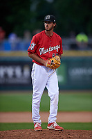 Billings Mustangs relief pitcher Alec Byrd (47) during a Pioneer League game against the Grand Junction Rockies at Dehler Park on August 14, 2019 in Billings, Montana. Grand Junction defeated Billings 8-5. (Zachary Lucy/Four Seam Images)