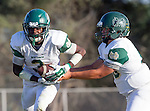 Palos Verdes, CA 10/07/16 - Justin Goring (Mira Costa #3) and Jordan Lacey (Mira Costa #6) in action during the CIF Bay League game between Mira Costa and Peninsula.