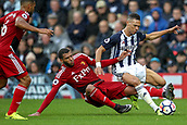 30th September 2017, The Hawthorns, West Bromwich, England; EPL Premier League football, West Bromwich Albion versus Watford; Étienne Capoue of Watford gives away foul on Kieran Gibbs of West Bromwich Albion