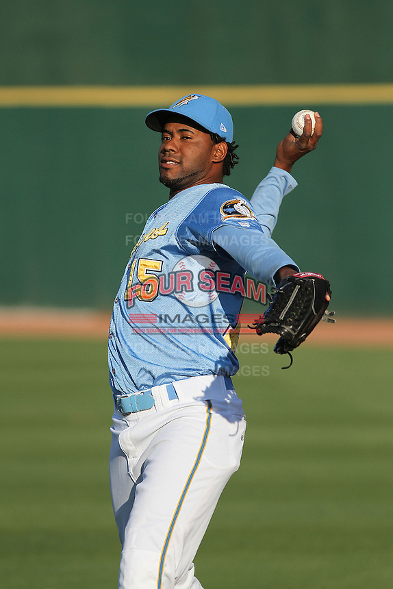 Myrtle Beach Pelicans pitcher Francisco Mendoza #15 warming up in the outfield before a game against the Frederick Keys at Tickerreturn.com Field at Pelicans Ballpark on April 24, 2012 in Myrtle Beach, South Carolina. Frederick defeated Myrtle Beach by the score of 8-3. (Robert Gurganus/Four Seam Images)