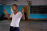 Boy dances during a dance movement therapy session for street children organized by Kolkata Sanved at Don Bosco Ashalayam center. Howrah, India.