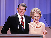 United States President Ronald Reagan and first lady Nancy Reagan on the podium of the 1988 Republican Convention as they acknowledge their supporters at the Super Dome in New Orleans, Louisiana on August 15, 1988.<br /> Credit: Arnie Sachs / CNP
